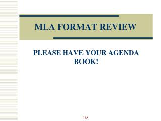 MLA FORMAT REVIEW
