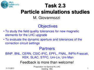 Task 2.3 Particle simulations studies