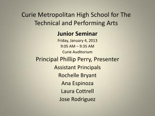 Curie Metropolitan High School for The Technical and Performing Arts