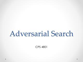 Adversarial Search