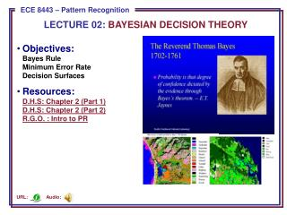 LECTURE  02:  BAYESIAN DECISION THEORY