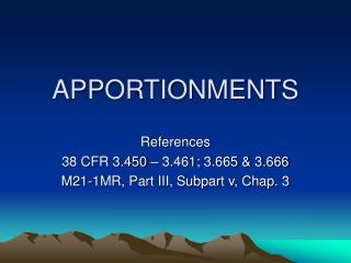 APPORTIONMENTS