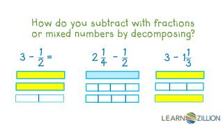 How do you subtract with fractions or mixed numbers by decomposing?