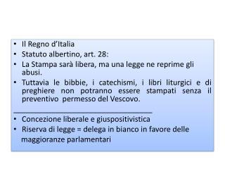 Il Regno d'Italia Statuto albertino, art. 28: