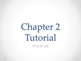 Chapter 2 Tutorial