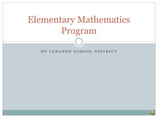Elementary Mathematics Program