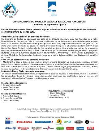 CHAMPIONNATS DU MONDE D� ESCALADE  & ESCALADE HANDISPORT Dimanche 16 septembre � jour 5