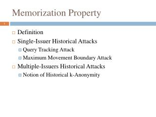 Memorization Property