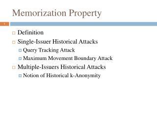Memorization Property