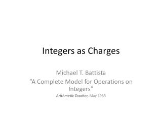 Integers as Charges
