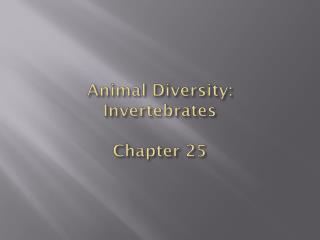 Animal  Diversity: Invertebrates Chapter  25