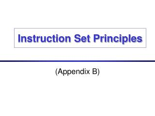 Instruction Set Principles