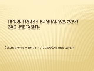 Презентация комплекса услуг ЗАО «МегаБИТ»