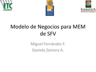 Modelo de Negocios para MEM de SFV