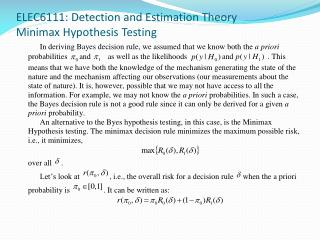 ELEC6111: Detection and Estimation Theory Minimax Hypothesis Testing
