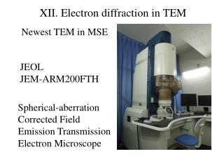 XII.  Electron diffraction in TEM