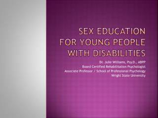 Sex Education for Young People with Disabilities