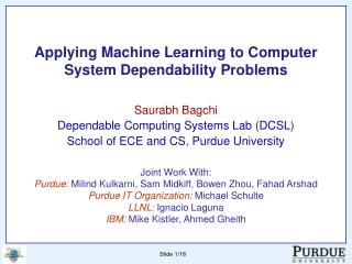 Applying Machine Learning to Computer System Dependability Problems