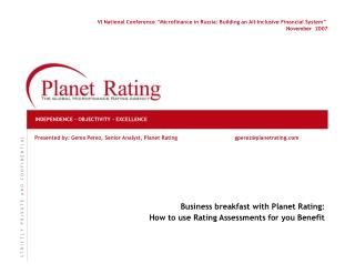 Planet Rating - The Global Microfinance Rating Agency