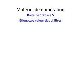 Matériel de numération