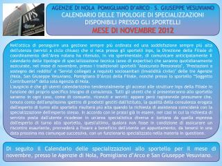 AGENZIE DI NOLA  POMIGLIANO D'ARCO – S. GIUSEPPE VESUVIANO