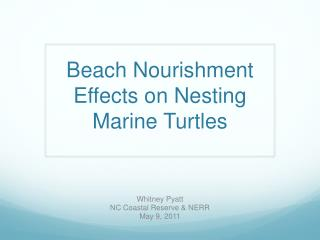 Beach Nourishment Effects on Nesting Marine Turtles