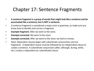 Chapter  17:  Sentence Fragments