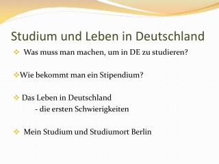 Studium und Leben  in  Deutschland