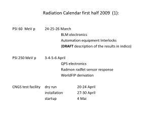 Radiation  Calendar first half 2009   (1):