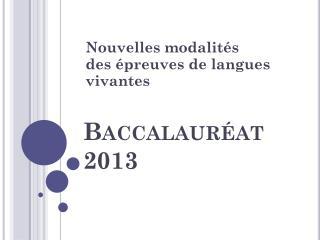 Baccalauréat 2013
