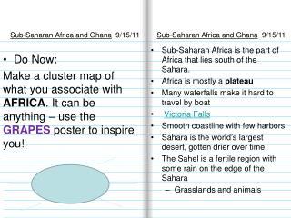 Sub-Saharan Africa and Ghana   9/15/11