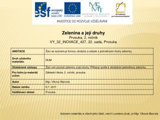 Zelenina a její druhy Prvouka, 2.  ročník VY_32_INOVACE_427,  22. sada, Prvouka