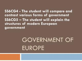 GOVERNMENT OF EUROPE