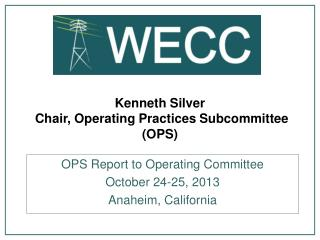 Kenneth Silver  Chair, Operating Practices Subcommittee (OPS)