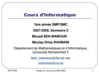 Cours d Informatique