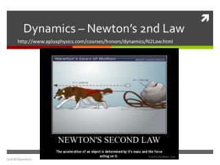 Dynamics – Newton's  2nd  Law
