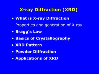 X-ray Diffraction XRD