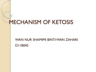 MECHANISM  OF KETOSIS
