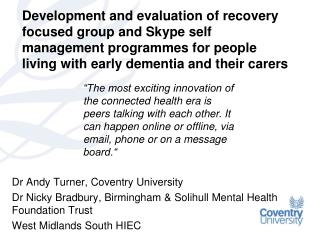 Dr Andy Turner, Coventry University