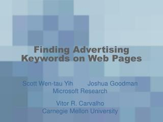 Finding Advertising Keywords on Web Pages