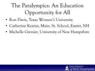 The Paralympics: An Education Opportunity for All