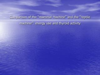 Comparison of the  mammal machine  and the  reptile machine : energy use and thyroid activity