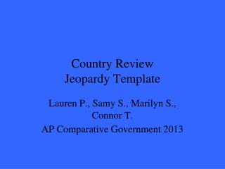 Country Review Jeopardy Template
