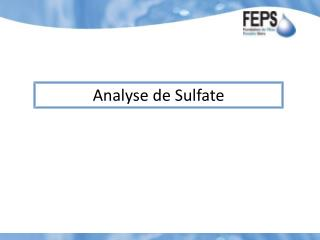 Analyse  de Sulfate