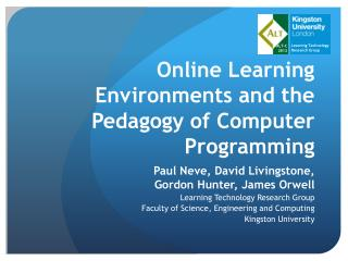 Online Learning Environments and the Pedagogy of Computer Programming