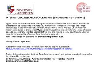 International Research Scholarships (1-year  MRes  + 3-year PhD)