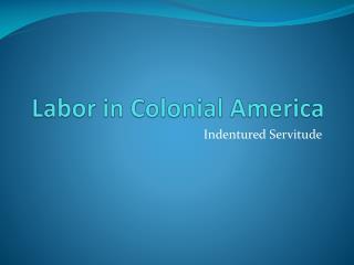 Labor in Colonial America