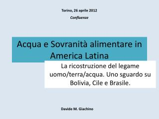 Acqua e Sovranità alimentare in America Latina