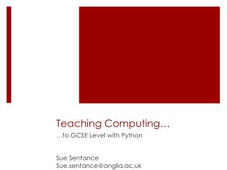 Teaching Computing…