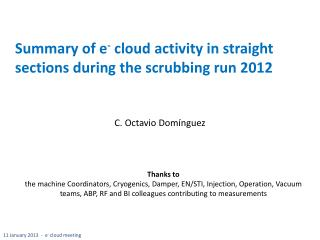 Summary of  e -  cloud  activity in straight sections during the scrubbing run 2012